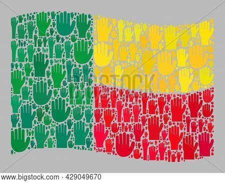 Mosaic Waving Benin Flag Designed With Upwards Help Palm Elements. Vector Ballot Collage Waving Beni