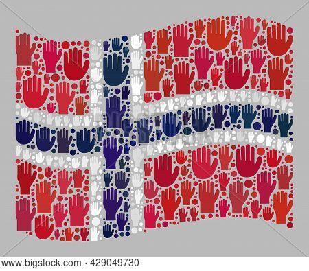 Mosaic Waving Norway Flag Created Of Raised Up Like Arm Icons. Vector Vote Mosaic Waving Norway Flag