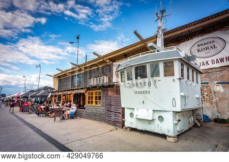 Hel, Poland - July 29, 2021: Beautiful architecture of Hel town - small fisherman town at Baltic Sea, Poland.