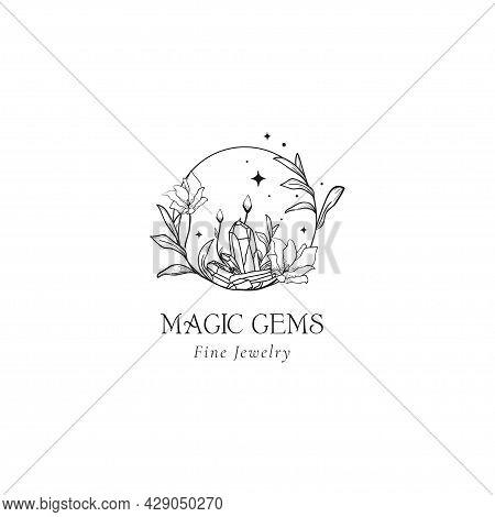 Floral Mystic Logo Design. Handdrawn Magic Gems.