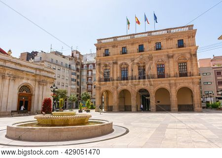 Castellon, Spain. June 14, 2021 - Principal Facade Of The Town Hall Building, From The Main Square.