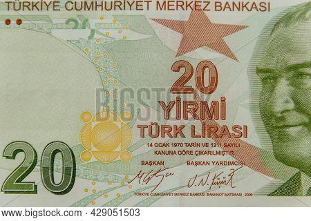 Macro Shot Of The Twenty Turkish Lira Banknote