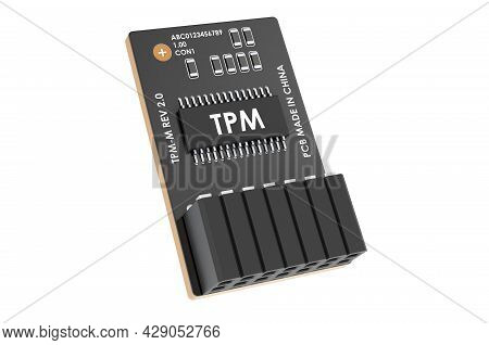 Trusted Platform Module, Tpm. 3d Rendering Isolated On White Background