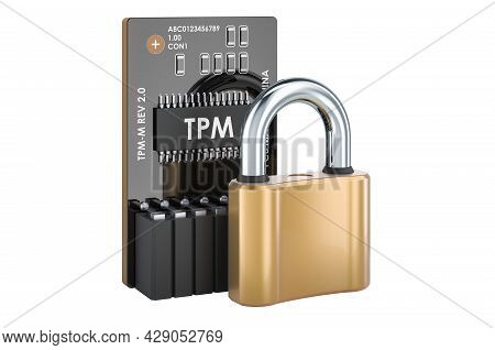 Trusted Platform Module Tpm With Padlock, 3d Rendering Isolated On White Background