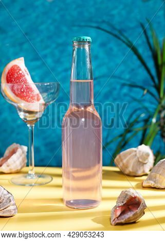 Pink Tequila Is Summer Drink. Tequila Crafted With Blue Agave, Uniquely Finished For A Month In Red