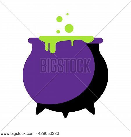 Witch Cauldron With Green Goo. Halloween Element. Black Cauldron In Flat Style. Preparation Of Magic