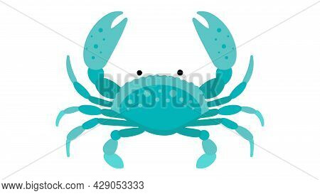 Sea Crab. Green Cartoon Crab With Claws. Abstract Vector Illustration Of Oceanic Creature. Turquoise