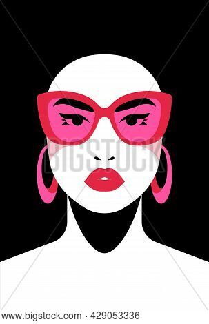 Beautiful Woman. Abstract Poster With Beauty Face - Red Lips, White Skin. Vector Illustration With F