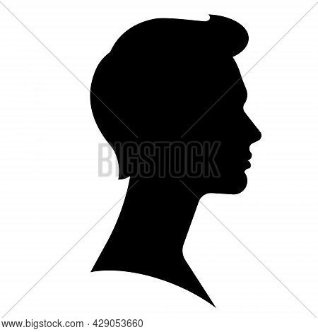 Silhouette Of Man. Male Face, Head, Neck. Side View. Young Man Face. Realistic Shape. Abstract Portr