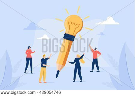 Creative Idea Writing As Innovative Lightbulb On Pencil Tiny Person Concept. Project Development Wit