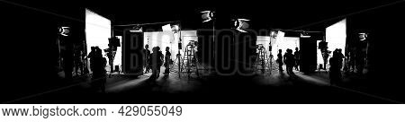 Silhouette Images Of Film Production. Behind The Scenes