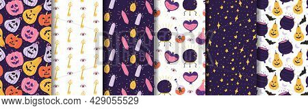 Collection Of Halloween Patterns. Magical Background With Pumpkin, Potion, Magic Ball, Cauldron, Sta