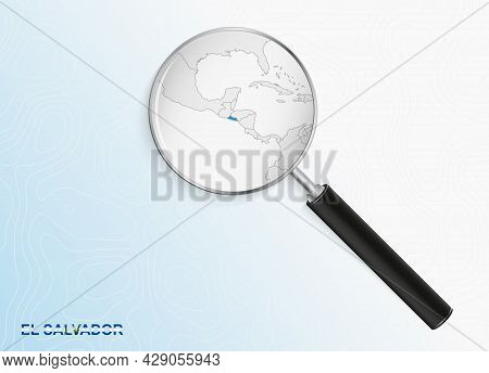 Magnifier With Map Of El Salvador On Abstract Topographic Background. Vector Map.