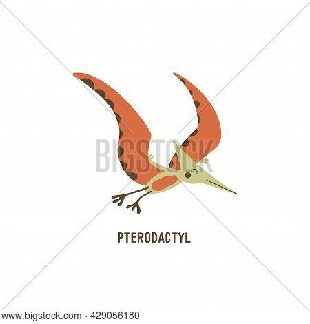 Pterodactyl. Flying Archosaurus Pterosaur, Extinct Ancient Winged Lizard, Jurassic Period. Mesozoic