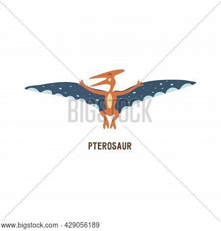 Pterosaur. Flying Archosaurus Pterodactyl, Extinct Ancient Winged Lizard, Jurassic Period. Mesozoic