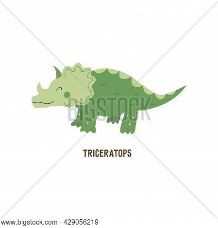 Triceratops Dinosaur. Large Herbivore, Extinct Ancient Lizard With Horn, Jurassic Period. Card. Colo
