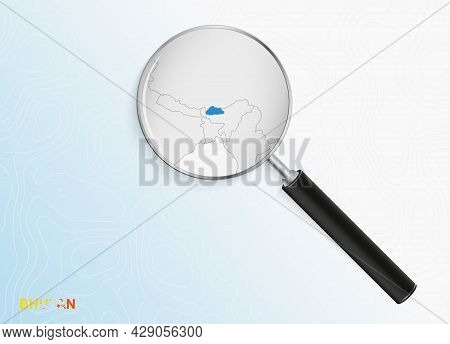 Magnifier With Map Of Bhutan On Abstract Topographic Background. Vector Map.