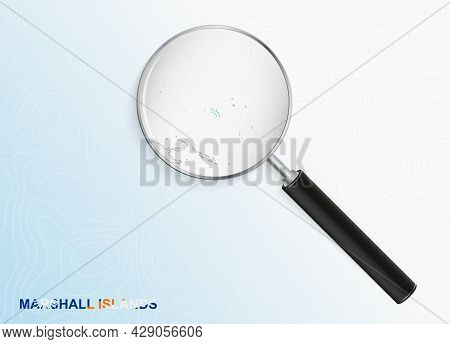 Magnifier With Map Of Marshall Islands On Abstract Topographic Background. Vector Map.