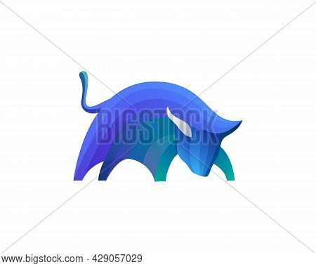 Abstract Bull Colorful Gradient Logo Template. Universal Taurus, Cow Vector Icon Logotype Design.