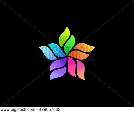 Abstract Flower Geometric Vibrant Gradient Logo Design Template. Universal Cosmetics, Salon, Spa Vec
