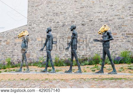 July, 2021, Erfurt Germany. New Sculptures In Golden Horse Masks