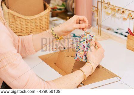Woman Packing Handmade Earrings, Freelance Job Of Artisanal Jeweler Artist