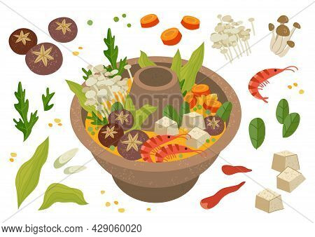 Chinese Food Hot Pot Set. Vector Isolated, Graphic Illustration Of A Chinese Hot Pot. Reunion Dinner