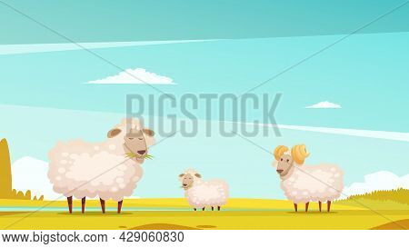 Domestic Sheep Breeding And Raising Farm Pasture Funny Cartoon Poster With Grazing Ram And Lamb Vect