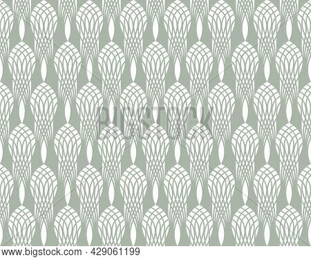 Art Deco Seamless Pattern With Black And White Abstract Line Ornament. Backdrop Of Arabesque Line Or