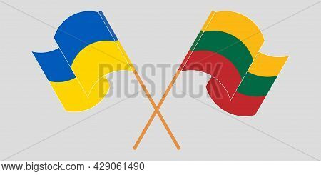 Crossed And Waving Flags Of The Ukraine And Lithuania