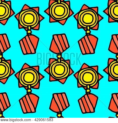 Vector Seamless Pattern Of A Round Gold Medal On A Red Ribbon. The Pattern Is A Red Ribbon With Stri