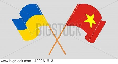 Crossed And Waving Flags Of Ukraine And Vietnam