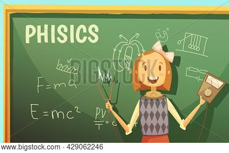 Physics Lessons For Elementary Primary School Kids With Schoolgirl By Blackboard With Formulas Carto