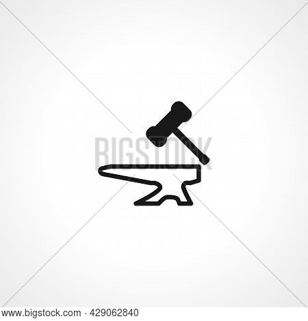 Anvil Hammer Icon. Tool Simple Isolated Black Vector Icon.