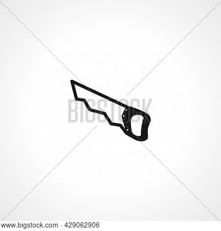Saw Icon. Wood Saw Tool Simple Isolated Black Vector Icon.