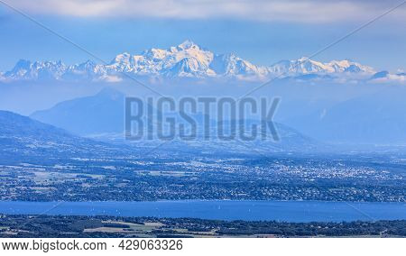 Image Of Snowcapped Mont Blanc Massif And Leman Lake Seen From Jura Mountains In France.