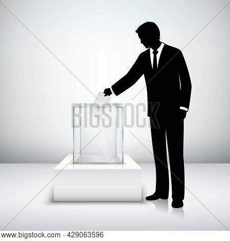 Voting Election Concept With Man Silhouette Putting Vote Paper In The Ballot Box Isolated Vector Ill