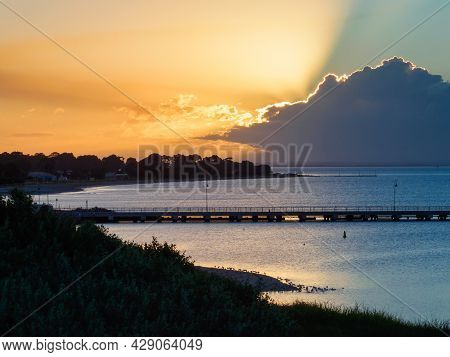 Dramatic Sky With The Sun Behind The Clouds - Portarlington, Victoria, Australia