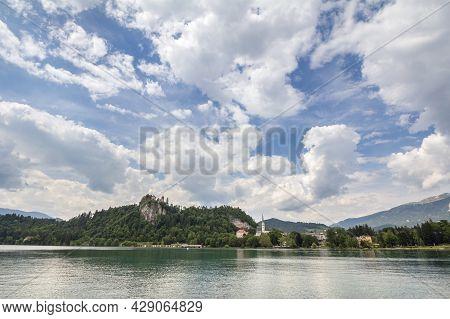 Panorama Of The Bled Lake, Blejsko Jezero, With Its Castle, Blejski Hrad And The Saint Martin Church