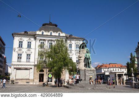 Ljubljana, Slovenia - June 14, 2021: Statue Of France Preseren, Or Presernov Spomenik On Presernov T