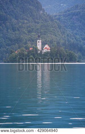 Panorama Of The Blejsko Ostrvo, Or Bled Island, On Bled Lake Or Blejsko Jezero, With The Assumption
