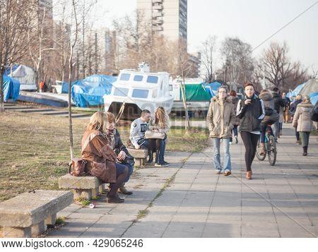 Belgrade, Serbia - January 27, 2017: Selective Blur On Two Senior Old Women, Grandmothers, Serbs, Fr