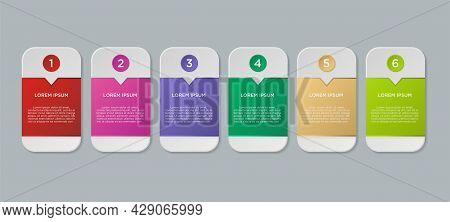 Vector Set Of Rounded Square Shaped Infographic Elements. Suitable For Text Box Layout, Sequence Of