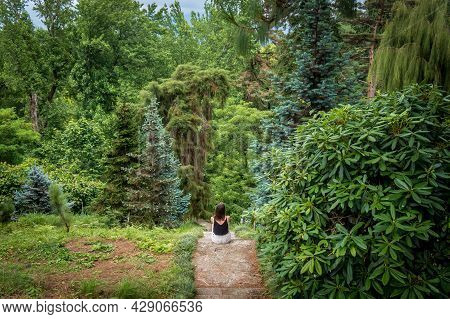 Young Woman Sitting Overlooking Beautiful Green Forest, Park In Summer. Environment Conservation Con