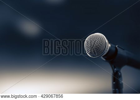Microphone Public Speaking Background, Close-up The Microphone On Stand For Speaker Speech Presentat