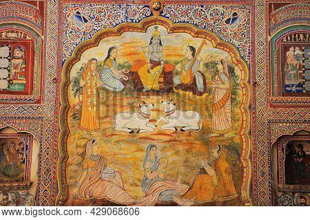 Fresco Painting Is Located In Nawalgarh Shekhawati, Jhunjhunu, Rajasthan, India