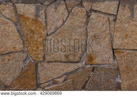 Masonry Texture. Brown Shades. Uneven, Abstract Masonry Urban Design