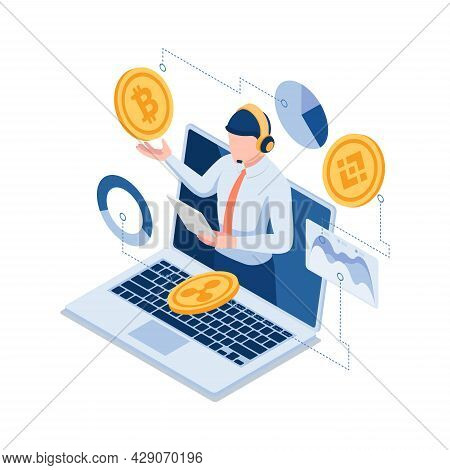 Flat 3d Isometric Online Investment Experts Explaining The Bitcoin And Other Cryptocurrency. Financi