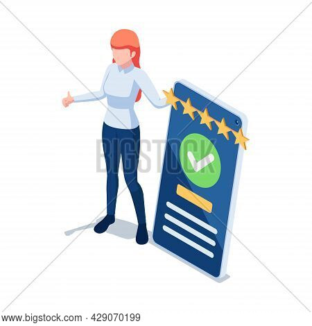 Flat 3d Isometric Woman Customer Writing A Comment And Giving Five Star Feedback On Smartphone. Cust