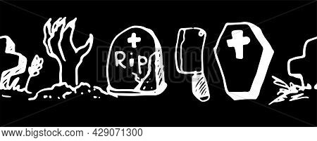 Vector Seamless Border For Halloween. Horizontal Strip Of Doodle-style Elements Zombie Hand, Coffin,